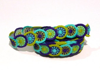 Turquoise Purple and Green Circles Trim Vintage Embroidered Medallion Clothing Trim Overlapping Discs Circular 1960s 1970s Destash Hippie