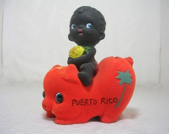Vintage Felt Ceramic Orange Piggy Bank Black Ceramic Boy Holding Pineapple Puerto Rico