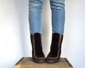 vintage snow boots - fur boots - snowland - sz US 7