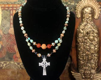 Celtic Cross Necklace, Cross Pendant, Rosary, Christian Necklace, Christian Gift for Woman, Turquoise Necklace, Ethnic Jewelry Cross Jewelry