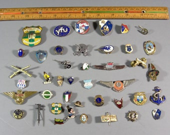 Lot of 40 Old Pin Backs, Metals, Botton Covers Tie Tacks Airline Jr Wings, Advertising, Fraternal ,Membership and More