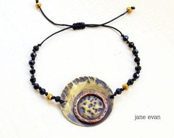 Black Textured Round Discs Beaded Rosario Bracelet Metawork Bohemian Hippie Ethnic Minimal Chic