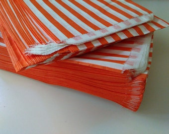 TRADITIONAL Sweet Shop Candy Stripe Paper Bags, 50 ORANGE STRIPES Bags  Packaging, Retail Bags, Party Favor Bags, Wedding, Birthday  Bags