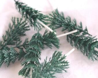 Green  Pine Tree Cupcake Toppers, Winter Cupcake Picks, Christmas Cupcake Toppers (12) Winter