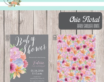 Printable Chic Floral Baby Shower Invite