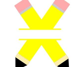 SVG - Split Pencils - DXF - Back to School - School Tshirt - Pencils SVG - Teacher Decal - School Decal - Educational - Custom Tshirt