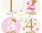 READY to SHIP Pink and Gold Glitter Confetti Baby Girl Monthly Stickers Baby Month Stickers Month to Month Stickers - Monthly Baby Decals -
