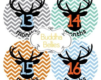 Monthly Baby Boy Stickers - 2nd year Woodland Deer Antler Month Stickers Deer Hunter Baby Month Stickers Western Baby Hunting Baby Shower