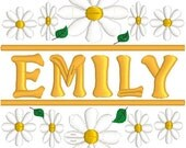 Daisy split embroidery, embroidery file, digitized embroidery file, download file, machine embroidery file, Yellow daisy,