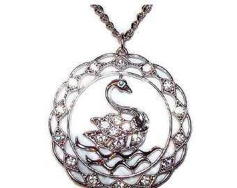 "Swan Pendant Chain Necklace Sarah Cov Clear & Blue Rhinestones Silver Metal 20"" Vintage"