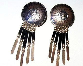 "Concho Sterling Silver Earrings Black Onyx Dangle Style Post Backs 2 1/8"" Vintage 1960s"