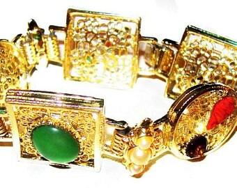 "Asian Link Bracelet Colored Rhinestones Gold Filigree Panels Pearl Beads 7.5"" Vintage"