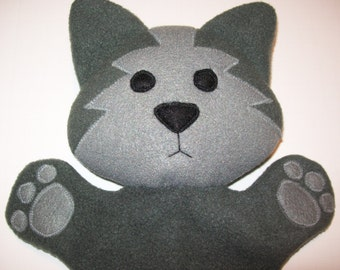 "13"" Fleece Wolf Hand Puppet - Ready to Ship!"