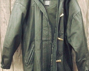 Vintage 80 leather green parka trenca coat jacket Greg Bell with fur hooded and gold buttons