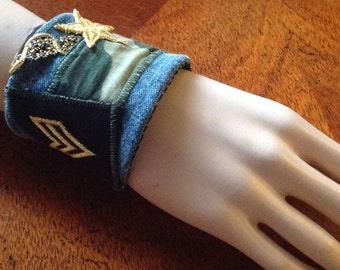 Fabric Wrist Cuff/Vintage Upcycled Wrist Cuff, Military Wrist Cuff, Patriotic Wrist Cuff, Army Wrist Cuff