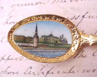 Lovely Enameled Teaspoon-Souvenir of Moscow (Mockba)