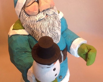Hand Carved Wood Santa with Snowman