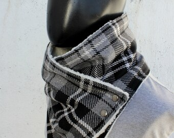 Blanket scarf. Mens cowl scarf. Plaid cotton blend,grey and black, faux lamb fur. Mens winter. Husband gift.