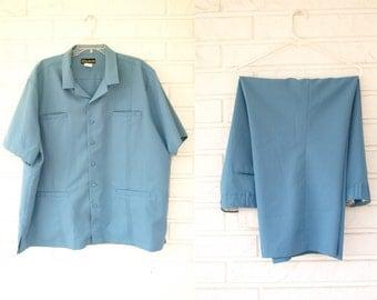 Vintage 70s men's baby blue 2 pc leisure lounge suit size 2XL