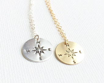 Compass Necklace, Hand Stamped Compass Necklace, Compass Jewelry, Graduation gift, Best Friends Gift, In Gold, Silver and Rose Gold