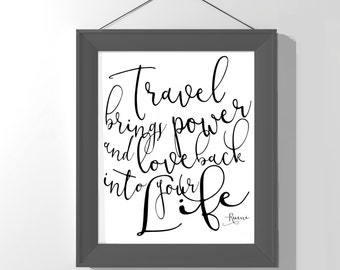 Inspirational modern print - travel print - black and white - Rumi quote - typography art poster - travel wall decor - adventure -motivation