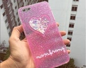 Pretty pink glitter case for Iphone 6 /6 plus,galaxy s6 edge,iPhone 5/5s,  galaxy note2/3/4/5, S3/4/5 glitter case with your name