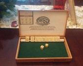 Shut the Box Game, Padron Cigar Box and Vintage Bakelite Mah Jong Tiles and Bakelite Dice