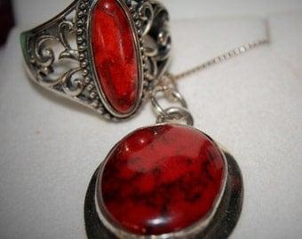 VINTAGE RING NECKLACE Red Obsidian German