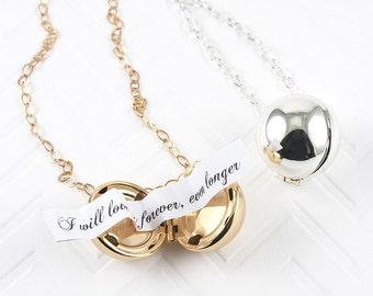 Ball Locket Pendant Necklace | Secret Message Ball Locket | Personalized Ball Locket