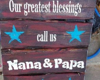 Large Nana and papa wood signs