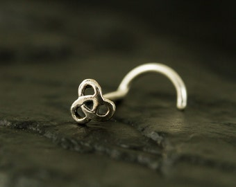 Mini celtic sterling silver nose stud / nose screw / nose ring