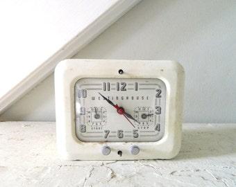 Vintage Clock Westinghouse Timer White MidCentury Retro