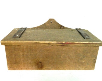 Vintage Wood Box with Lid Hanging