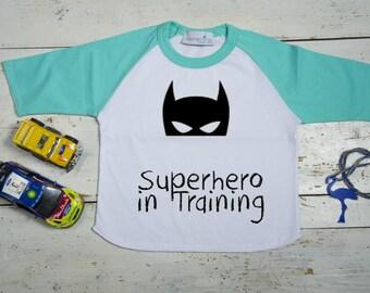 Boys T shirt Batmant, Superhero in Training, Custom Boys' Batman, Raglan Tee for boys, 18 months - 8 years, HandPainted Batman Mask