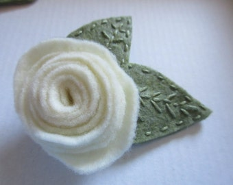 cream rose hair clip