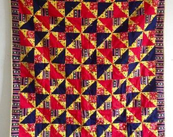 SAL! Geometric Patchwork Quilt, Vintage Folk Art Crib Blanket, baby blanket