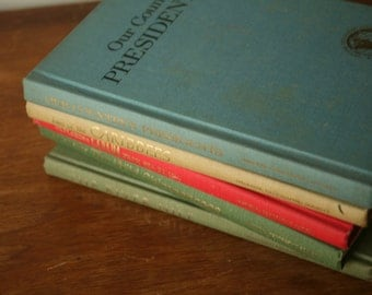 Vintage Stack of Five National Geographic Books, 1966, The Nile, Canada, Presidents, Chimpanzees, Caribees