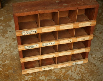 Vintage Wood Shelf, Parts Bin, Wooden Shelves, Cubbies, Wood, Office Storage, Organization, Kids Room