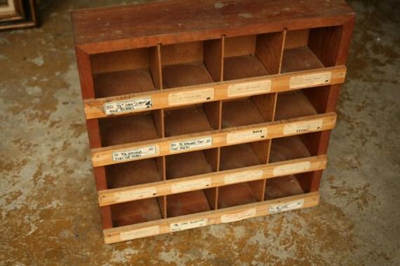 Vintage Wood Shelf, Parts Bin, Wooden Shelves, Cubbies, Wood, Office Storage, Organization, Kids Room
