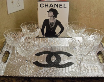 French Inspired Hollywood Glam Shimmery Silver Faux Croc and Acrylic Serving Tray