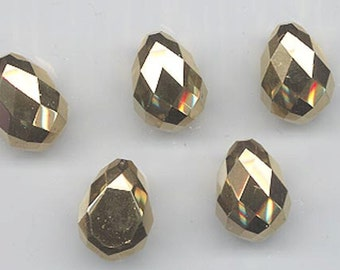 Three gorgeous vintage Swarovski crystal stones - art. 4872 - 18 x 12 mm - rare color comet OR (24K gold)