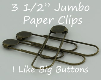 25 - ANTIQUE BRASS - Jumbo / Giant 3 1/2 Inch Bookmarks/Paper Clips/Paperclips w/ Glue Pads Large