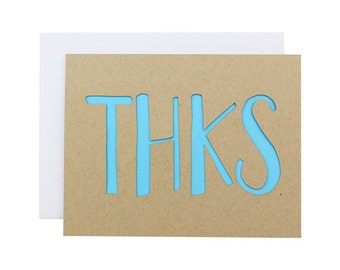 Thank You Card - THKS laser cut modern texting card