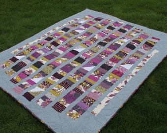 Large Lap Quilt in Purple Green and Gray