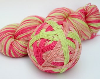 "Self Striping Sock Yarn, Superwash Merino and Nylon 75/25 Fingering Weight, in ""Ripe Melons"""