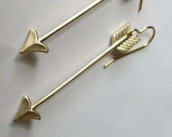 Golden Natural Brass Arrow Earrings