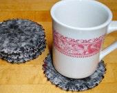 Beaded Wool Coasters GRAY & BLACK Felted Wool, Upcycled Mug Rugs by SweaterScrapyard