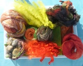 SALE Hope jacare - 2D Needle felt pack  - hand dyed wool blanket and other goodies -  SNF50