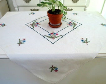 Embroidered Tablecloth, Linen Breakfast Cloth, Vintage Table Linen, 33 x 32, Embroidered Wildflowers, Vintage Linens by TheSweetBasilShoppe
