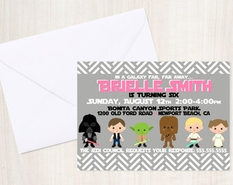Star Wars Custom Birthday Invite for Girls - Star Wars Party Invitation - Party Supplies